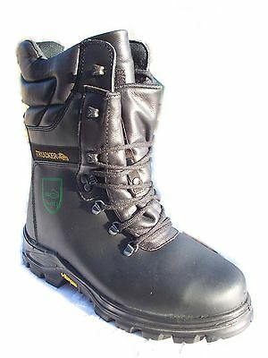 Trucker Black Forest Class 2 Leather Size 10 Safety Chainsaw Boots Vibram Soles