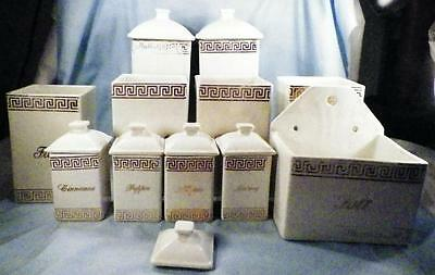 Antique Canister Set Salt Box & Spice Gold Lettering Earthenware 11 Piece As Is