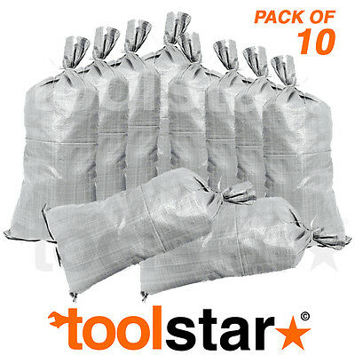 Sand Bags - Pack Of 10 - Flood Prevention - Weight - Woven Bags - Includes Ties