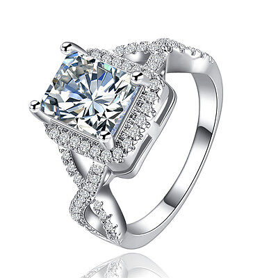 18K White Gold Silver Square Gem Cubic Zirconia Engagement Ring Size 7 8