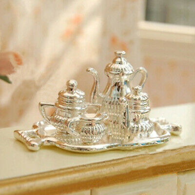 5p Dollhouse Miniature Accessory Traditional Silver Tea Coffee Set Tableware