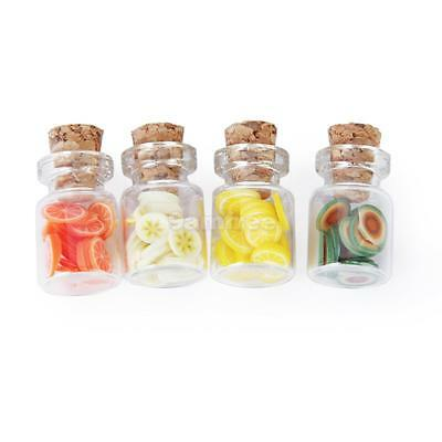 Set of 4Pcs Miniature Glass Jars with Lids for 1/12 Dollhouse Accessory