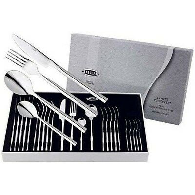 Stellar Rochester Cutlery 24 Piece Set Polished Stainless Steel BL50 BNIB