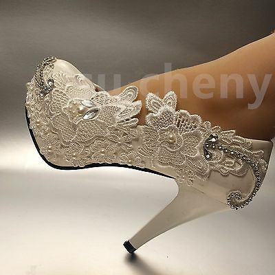 """3""""/4"""" white light ivory lace crystal Wedding shoes Bridal heels pumps size 5-11"""