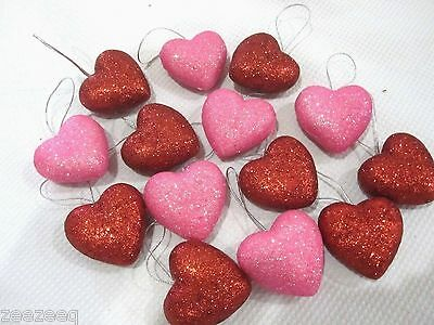 """Valentines Day Red Pink Glitter Hearts 1.5"""" Ornaments Decorations Decor Set of15"""