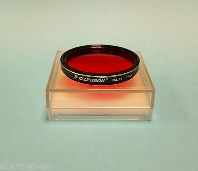 "Celestron #25 Red 2"" Telescope Eyepiece Filter - New In Case"