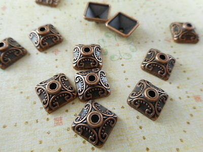 32 Antique Copper Plated Square Beadcaps Findings 60290p