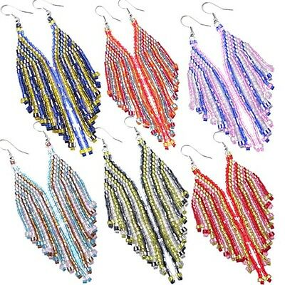 Multicolor Seed Beaded Earrings Wholesale Lot 6 Pair Non Native Beadwork 38/WL21
