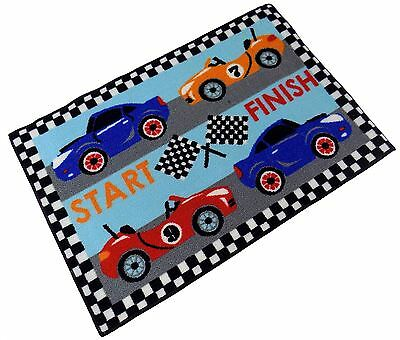 Formula 1 Racing Cars Black Red Blue Thick Anti Slip Bedroom Rug Mat 60 X 90Cm