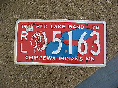 1978 78 1981 Minnesota Mn Red Lake Chippewa Indian Tribal License Plate Buy Me