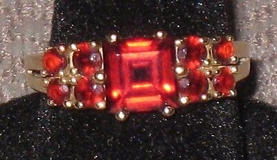Vintage Princess Cut & Small Faceted Round Red Garnet Gemstone Ring, Sz 6