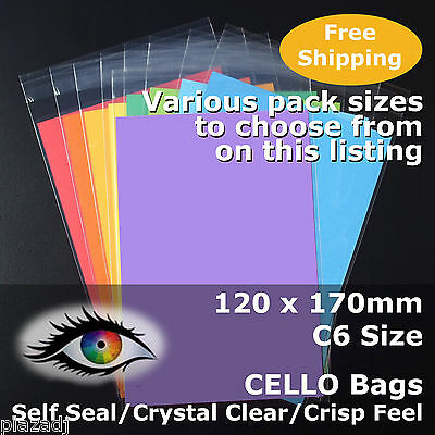CELLO BAGS 120x170mm CELLOPHANE PP Crystal Clear C6 Size Adhesive Lip #PR120170
