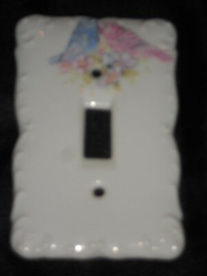 "Ceramic Switch Plate 3 1/4"" X 5"" With Birds Nice Lot S"