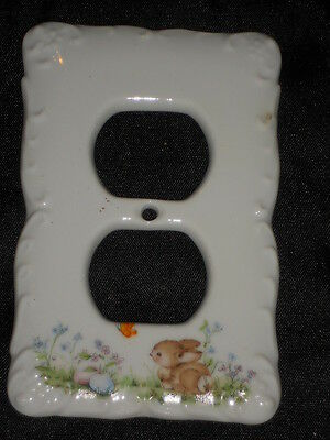 "Ceramic Plug Cover Plate 3 1/4"" X 5"" With Rabbit Nice Lot Gg"