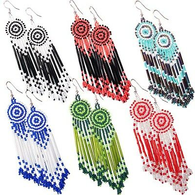 Multicolor Seed Beaded Earrings Wholesale Lot 6 Pair Non Native Beadwork 38/WL18