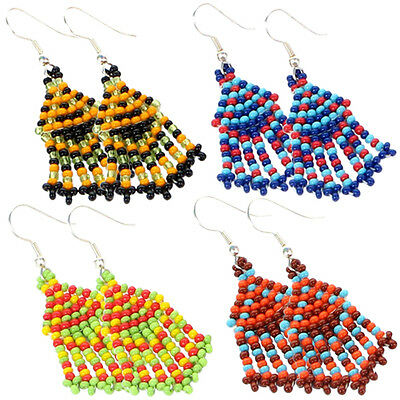 Multicolor Seed Beaded Earrings Wholesale Lot 4 Pair Non Native Beadwork 38/WL10