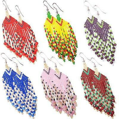 Multicolor Seed Beaded Earrings Wholesale Lot 6 Pair Non Native Beadwork 38/WL15