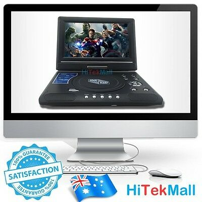 "AU Brand New 9.8"" Portable DVD Player DivX,Swivel, USB,SD,300 GAMES,Rechargeable"