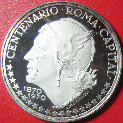 1970 GUINEA EQUATORIAL 150 PESETAS SILVER PROOF MERCURY HEAD 45mm LARGE CROWN