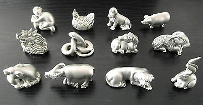 Chinese Horoscope Zodiac Pewter Feng Shui Birth Year Animal Sign Good Luck Charm