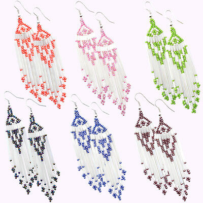 Multicolor Seed Beaded Earrings Wholesale Lot 6 Pair Non Native Beadwork 38/WL1