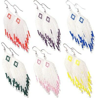 Multicolor Seed Beaded Earrings Wholesale Lot 6 Pair Non Native Beadwork 38/WL14