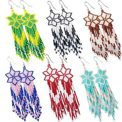 Multicolor Seed Beaded Earrings Wholesale Lot 6 Pair Non Native Beadwork 38/WL16