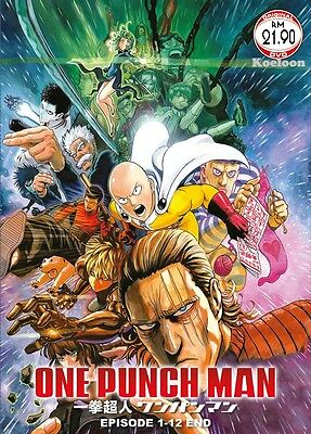 DVD Anime One Punch Man Complete TV Series (1-12 End + OVA) English Subtitle