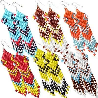 Multicolor Seed Beaded Earrings Wholesale Lot 6 Pair Non Native Beadwork 38/WL19