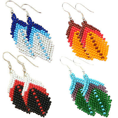 Multicolor Seed Beaded Earrings Wholesale Lot 4 Pair Non Native Beadwork 38/WL9