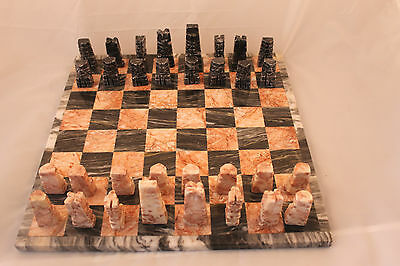 Vtg Aztec Marble Chess Set 32 Pieces Black & Coral