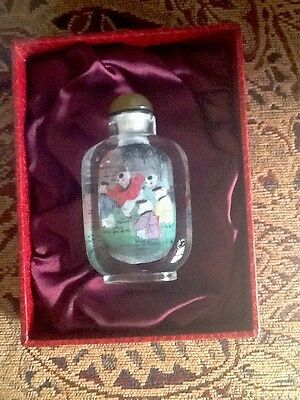 Perfume Snuff BOTTLE ANTIQUE GLASS REVERSE Hand Painted with Oriental Motif