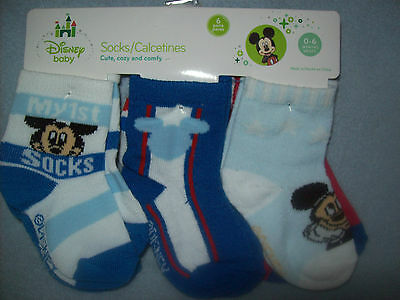 Baby Boy DISNEY BABY MICKEY MOUSE Socks - Size 0 - 6 Months - NEW NWT - 6 PAIRS!