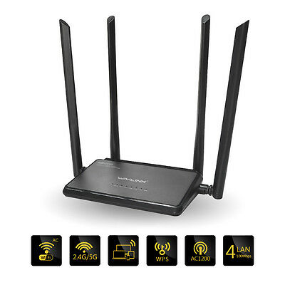 Wavlink AC1200 Dual Band WiFi Router 802.11ac Wireless Router High Power US Plug