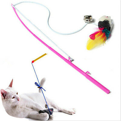 Funny Kitten Cat Toy Mouse On A Rod Teaser Belling Feather Play Pet Dangler Wand
