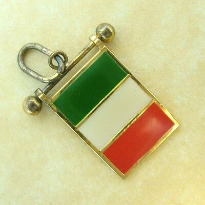 Vintage Gold Plated 800 Silver Enamel Souvenir Travel Movable Charm Italy Flag