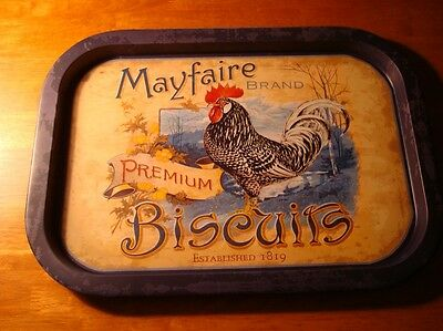 MAYFAIRE BISCUITS ROOSTER ADVERTISING KITCHEN TRAY Chicken Sign Home Decor NEW