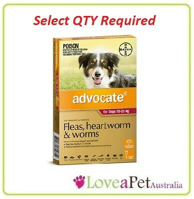 Advocate Flea and Worm/Heartworm Treatment For Dogs 10-25kg/ MED to Large Dog