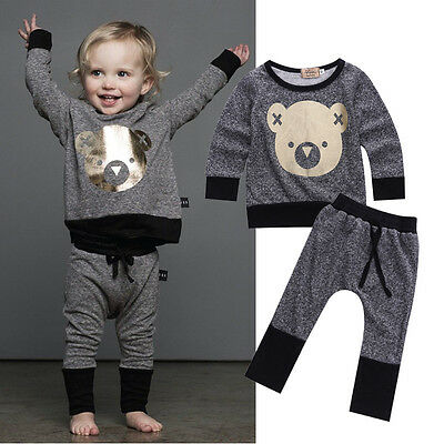 2pcs Toddler Infant Baby Boy Girl Sweat Shirt +Pants Outfit Clothes Set Size 0-4