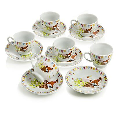 Set 6 Tazzine Caffe' Con Piattino Volpe Porcellana Design Montemaggi
