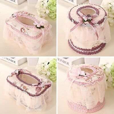 Home Paper Case Cover Tissue Box Lace Flower Napkin Holder Home Car Decoration