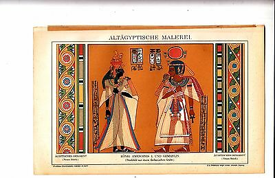 1897 Egyptian Art, Ancient Paintings, King Amenophis, Antique Chromo Print