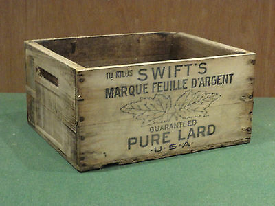 Antique Vintage Swifts Pure Lard Usa French Wooden Crate Box