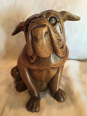 Decorative Folk Art Hand Carved Wooden Dog Bulldog Handmade Sculpture