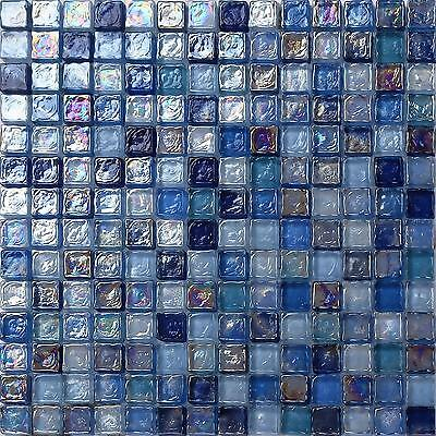 Mosaic Wall Tiles Hammered Pearl Blue Mix Glass Borders Splashback Sheet 0109