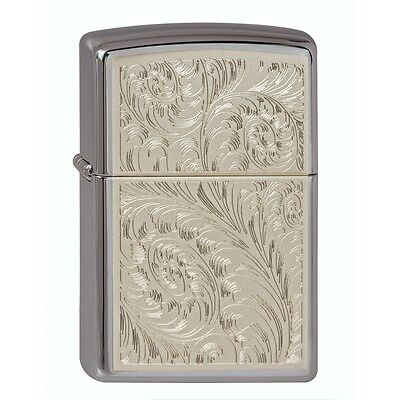 Zippo Windproof Chrome Lighter With English Scroll Design, 46847, New In Box