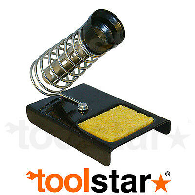 Soldering Iron Stand & Cleaning Sponge Heavy Duty Metal Base Spring Holder