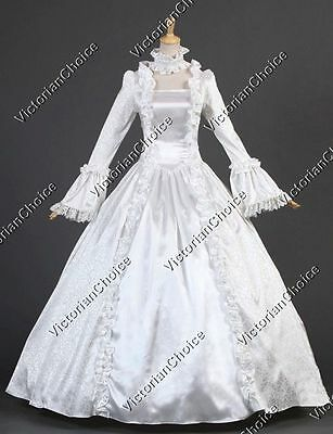 White Renaissance Victorian Bridal Dress Wedding Gown Reenactment Clothing 119