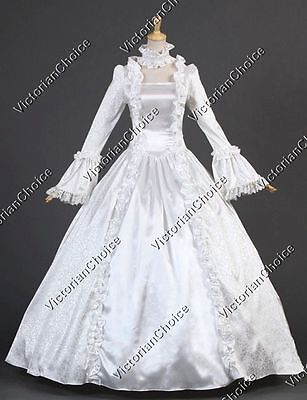 White Renaissance Wedding Dress Ghost Bride Adult Women Halloween Costume 119