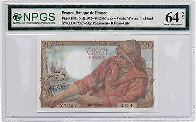 France 20 Francs 1942-44 (P-100a) Colorful! No Reserve!